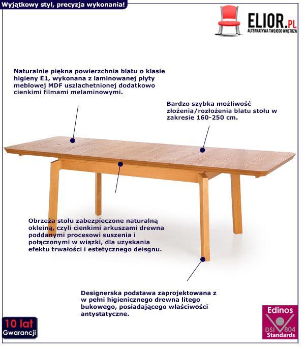 Naturalny stół Tudor - rozkładany