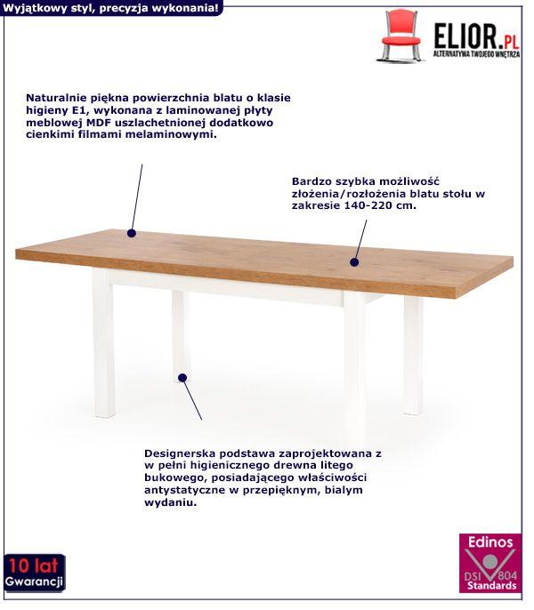 Skandynawski stoł Selen - dąb