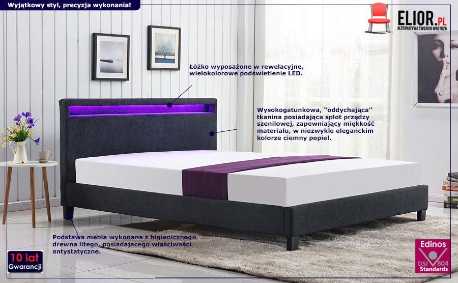 Komfortowe łóżko Madero - ciemny popiel