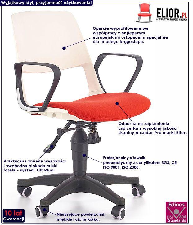Czerwony fotel obrotowy dla dziewczynki Feris