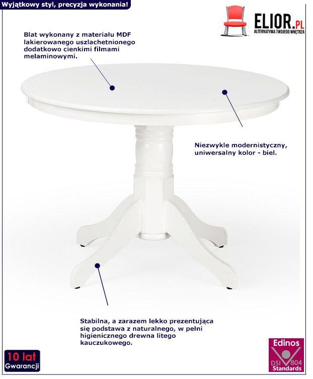 Piękny stół Atles - biały