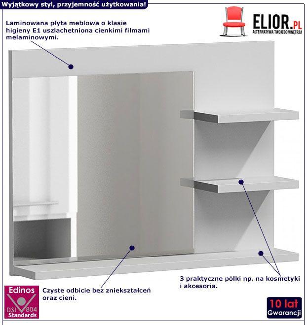 Białe lustro łazienkowe Caro 2X