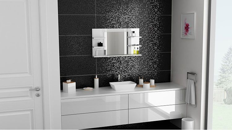 Białe lustro wiszące do łazienki Ixelo