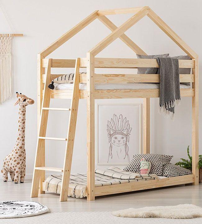 Piętrowe dwuosobowe łóżko drewniane domek Miles 7X
