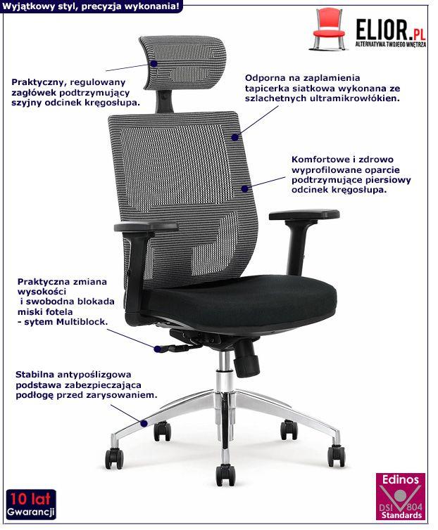 Komfortowy fotel do gabinetu Toris - czarno - popielaty