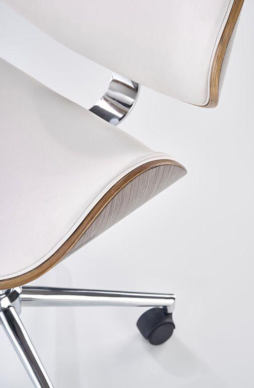 Stylowy fotel do gabinetu Whitor - biały i jasny dąb