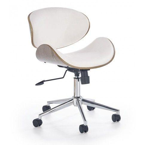 Zdjęcie produktu Nowoczesny fotel obrotowy Whitor - biały - jasny dąb.