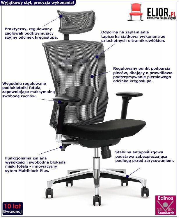 Funkcjonalny fotel obrotowy Ragis - czarno - popielaty