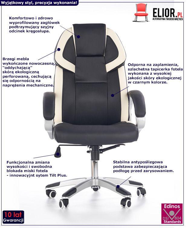 Komfortowy fotel do gabinetu Philos - czarno - biały