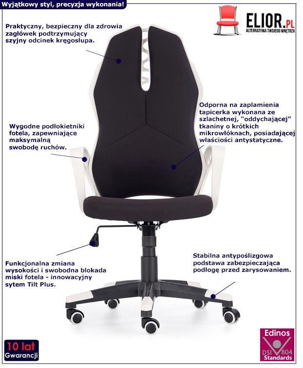 Czarno - biały fotel gabinetowy Haxel