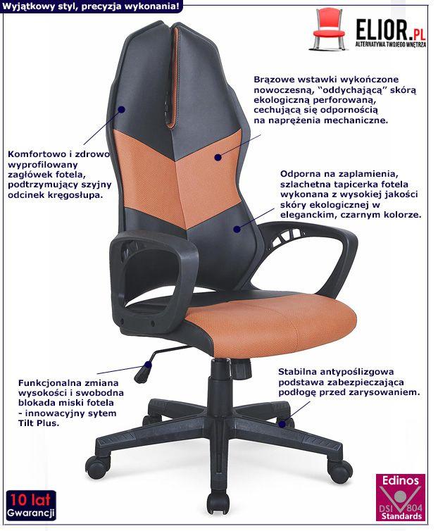 Komfrotowy fotel do gabinetu Ortis - czarno - brązowy