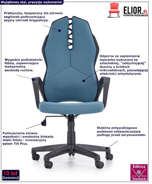 Nowoczesny fotel pracowniczy Nathan - niebieski