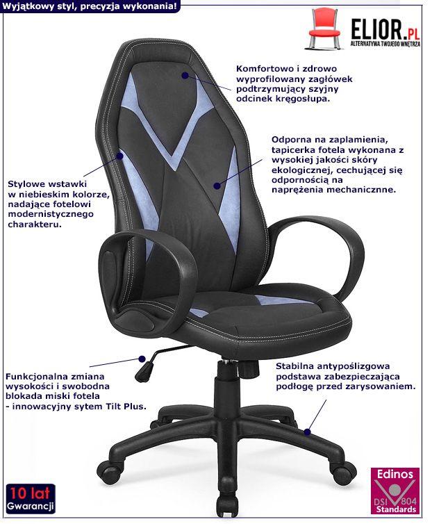 Komfortowy fotel do biura Bruno - czarno - niebieski