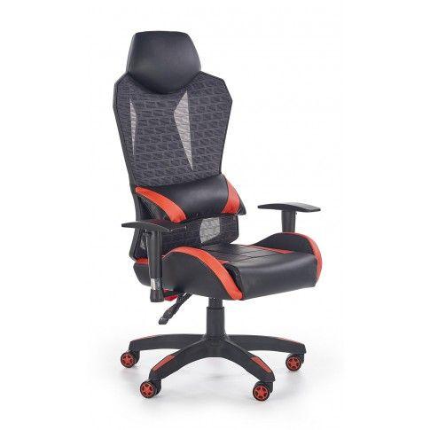 Zdjęcie produktu Fotel gabinetowy Nikos - czarno - czerwony.