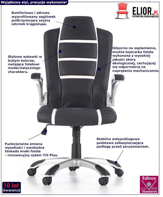 Nowoczesny fotel do gabinetu Harold - czarno biały