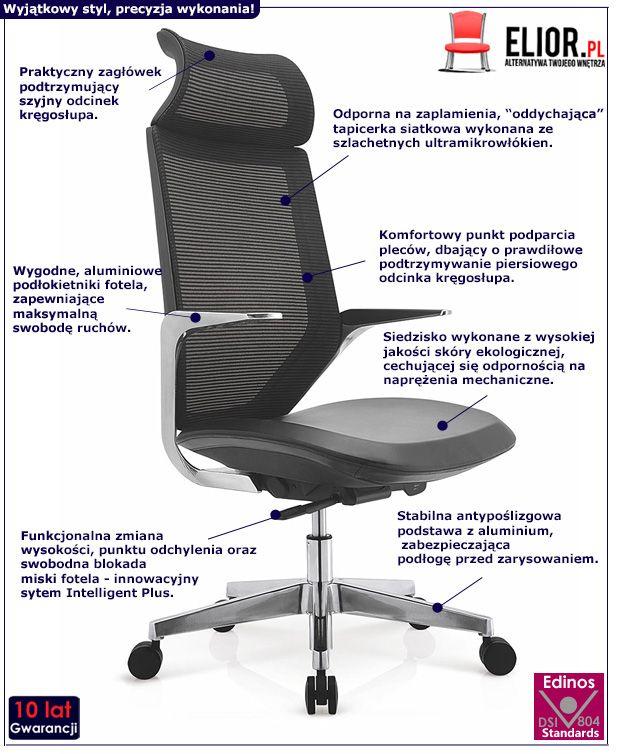 Innowacyjny fotel obrotowy Maris do gabinetu - czarny