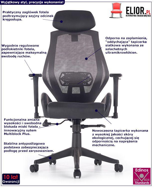 Funkcjonalny fotel obrotowy Almon - czarny