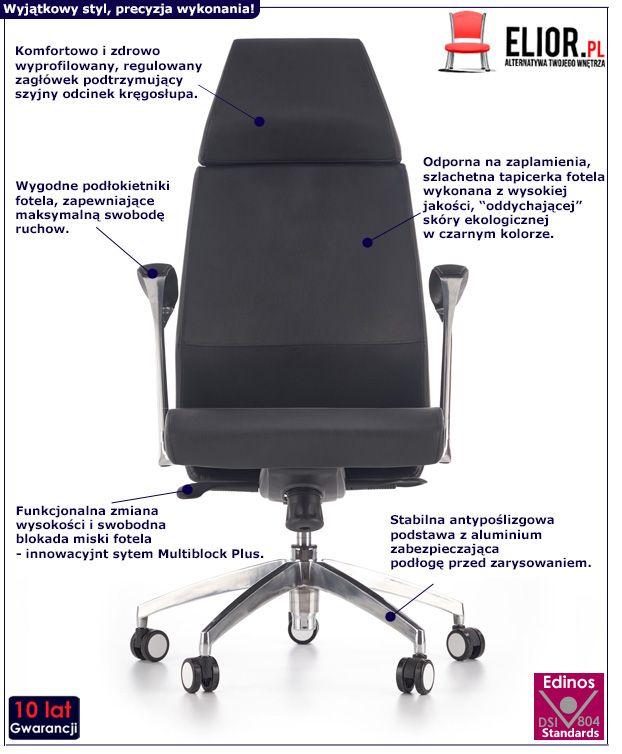 Stylowy fotel gabinetowy Ragor - obrotowy