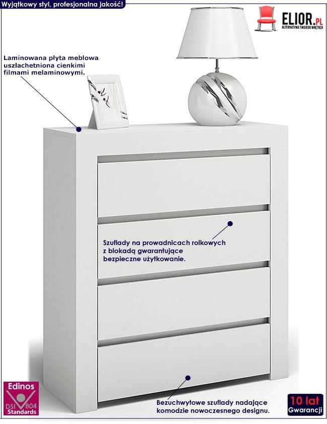 Biała komoda z 4 szufladami Lorena