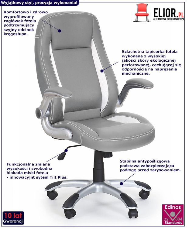 Nowoczesny fotel do biura Cubot - popielaty
