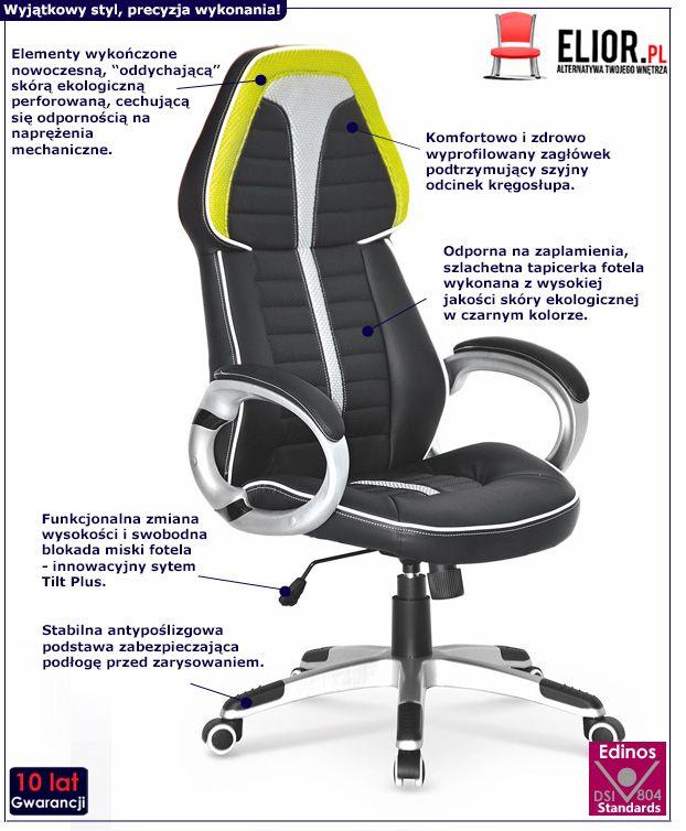 Nowoczesny fotel biurowy Elbro - czarno - popielato - limonkowy
