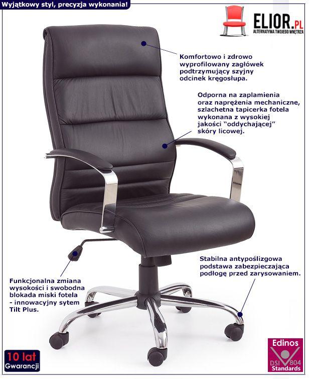 Skórzany fotel gabinetowy Canot - czarny