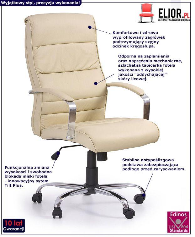 Skórzany fotel gabinetowy Canot - kremowy