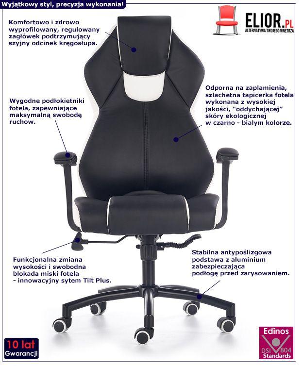 Stylowy fotel gabinetowy Cotto - czarno - biały