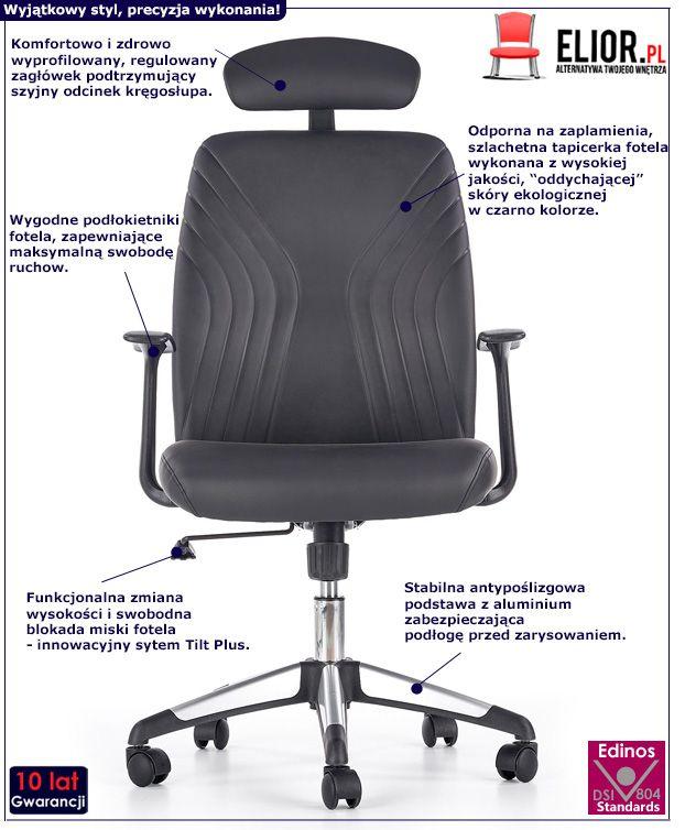 Stylowy fotel do gabinetu Durant - czarny