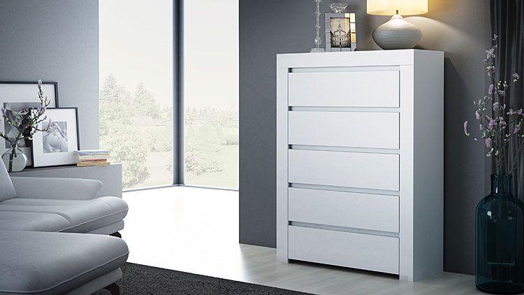 Biała komoda do salonu, sypialni Lorena 2X