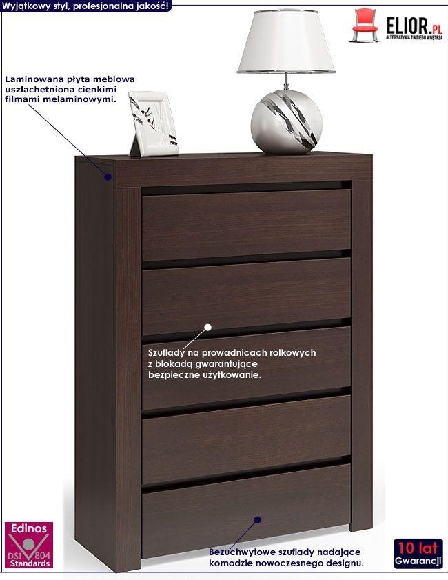 Komfortowa komoda z 5 szufladami wenge Lorena 2X