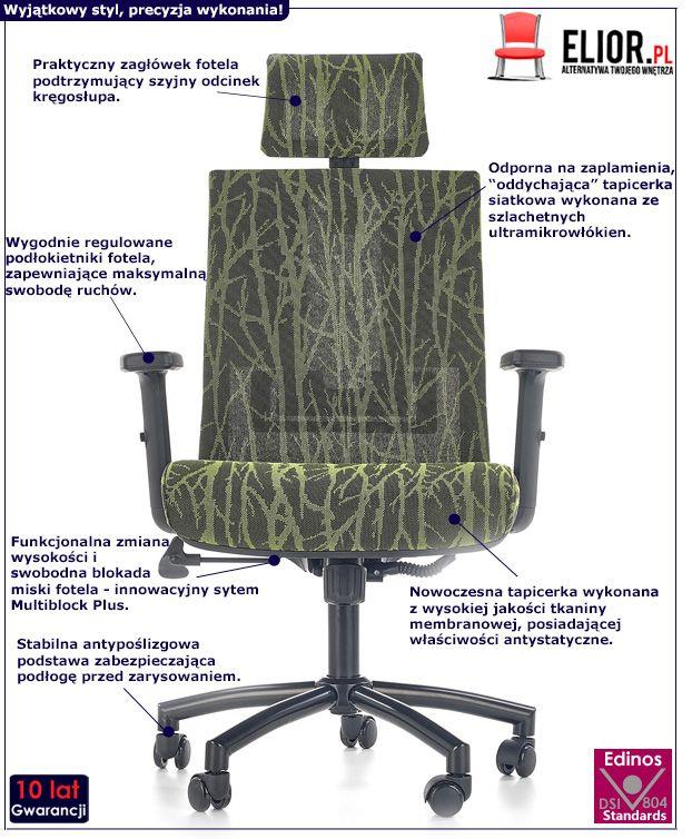 Nowoczesny fotel do biura Ibis - czarno - zielony