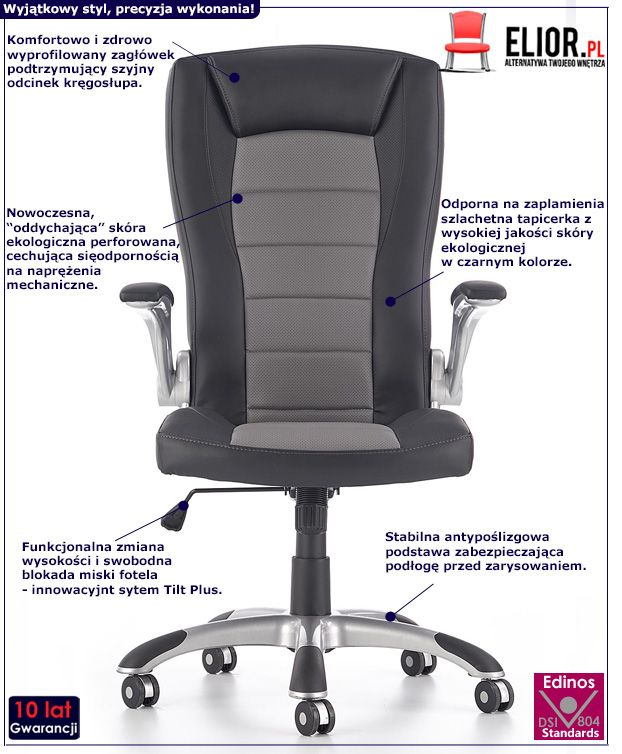 Komfortowy fotel obrotowy Ragot - czarno - szary