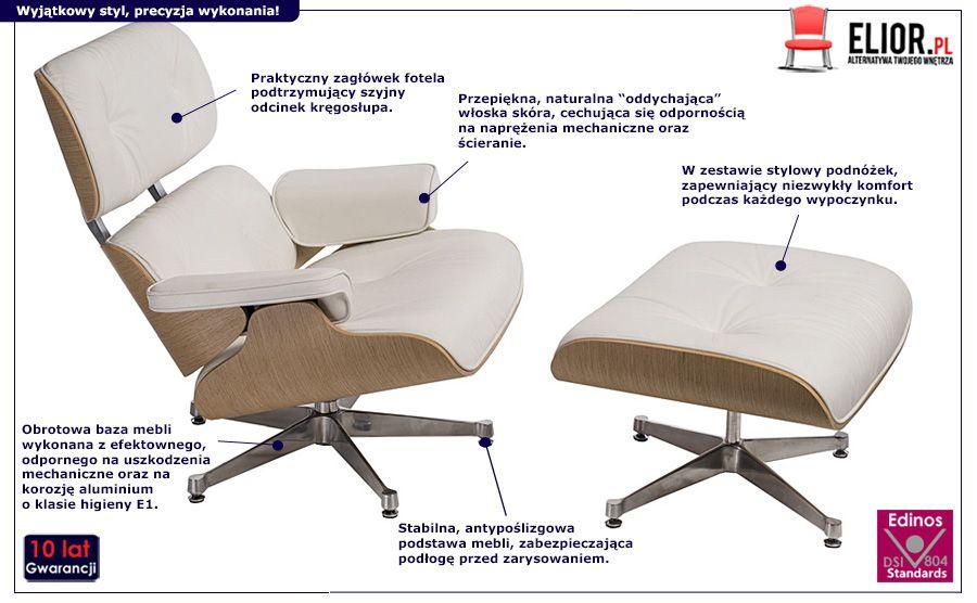 Stylowy fotel wypoczynkowy z podnóżkiem Radiso - biały