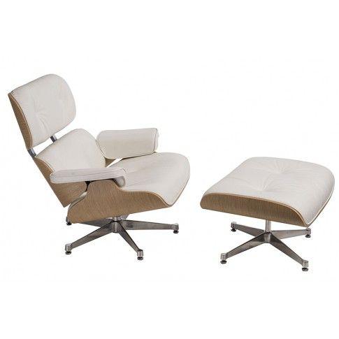 Zdjęcie produktu Obrotowy fotel wypoczynkowy z podnóżkiem Radiso - biały.