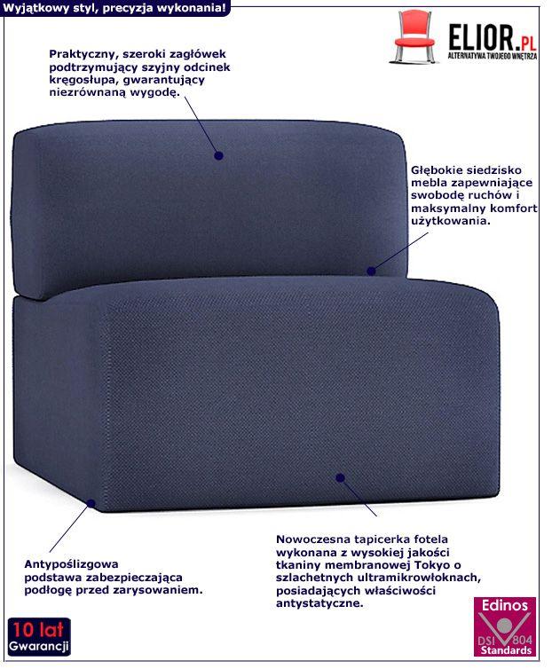 Komforotwy fotel wypoczynkowy Climer - granatowy