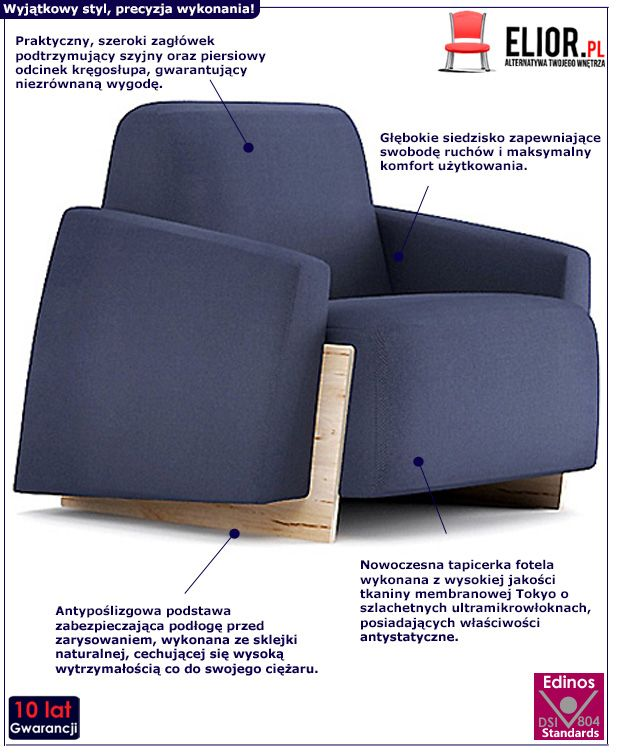 Piękny fotel wypoczynkowy Pierot - granatowy
