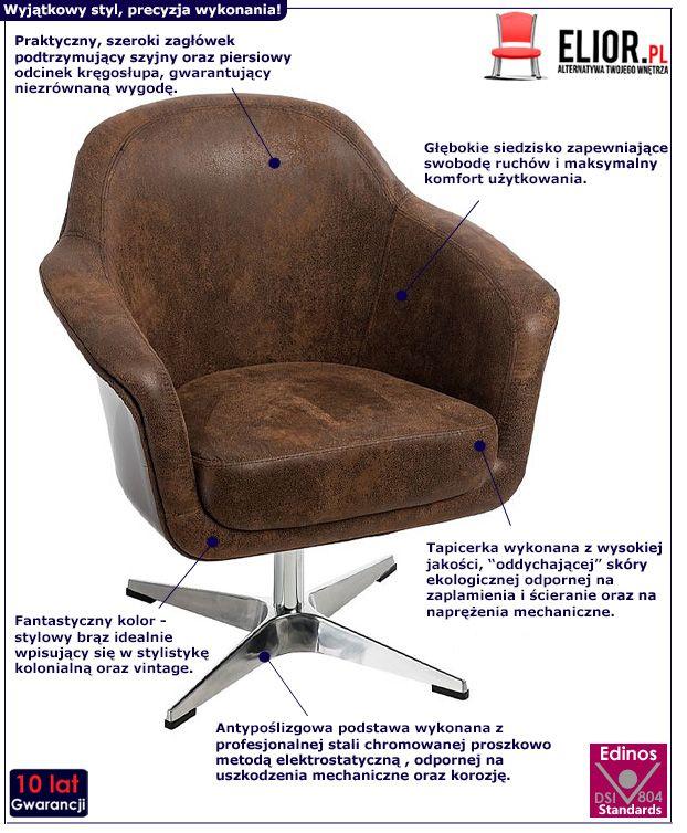Kolonialny fotel do salonu Hegot - brązowy