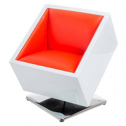 Zdjęcie produktu Fotel kwadrat Atroks - biało czerwony.