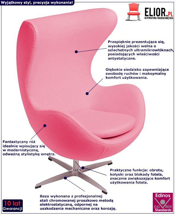 Znakomity fotel wypoczynkowy Eggi - różowy