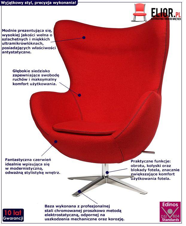 Innowacyjny fotel wypoczynkowy Eggi - czerwony