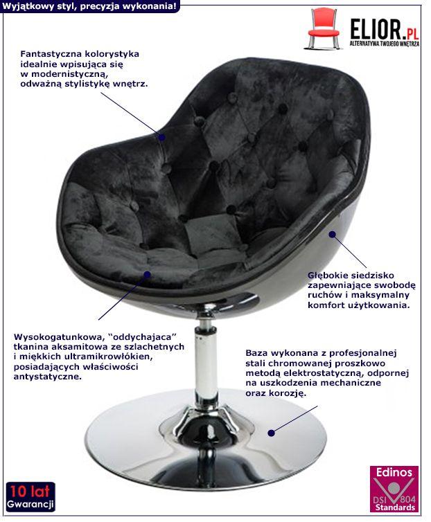 Gustowny fotel do salonu Ottav - czarny
