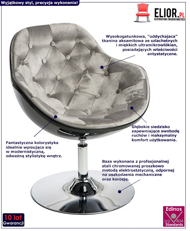 Stylowy fotel wypoczynkowy Ottav - salonowy