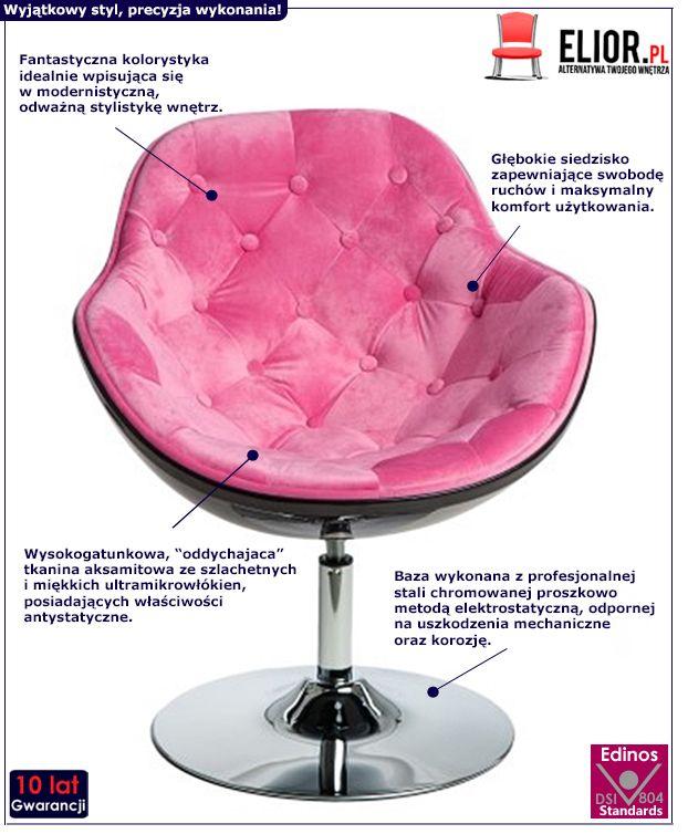 Innowacyjny fotel wypoczynkowy Ottav - różowo - czarny