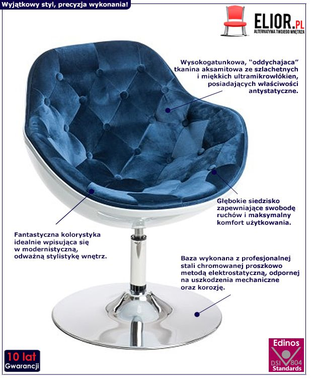 Stylowy fotel do salonu Ottav - niebiesko - biały