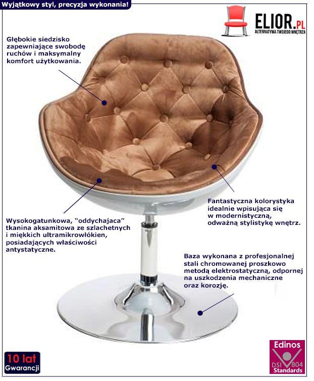 Elegancki fotel wypoczynkowy Ottav - brązowo - biały