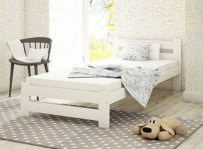 łóżko białe 90x200 marsel pojedyncze