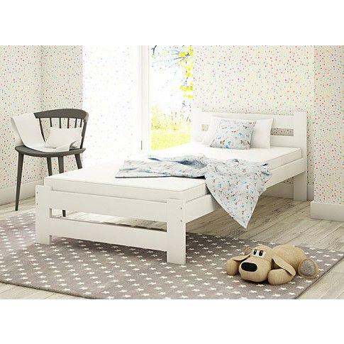 Zdjęcie produktu Jednoosobowe łóżko Marsel 90x200 - białe.