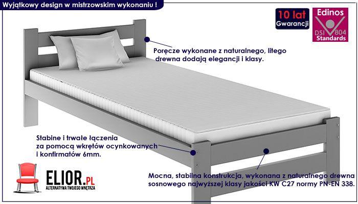 łóżko szare jednoosobowe 90x200