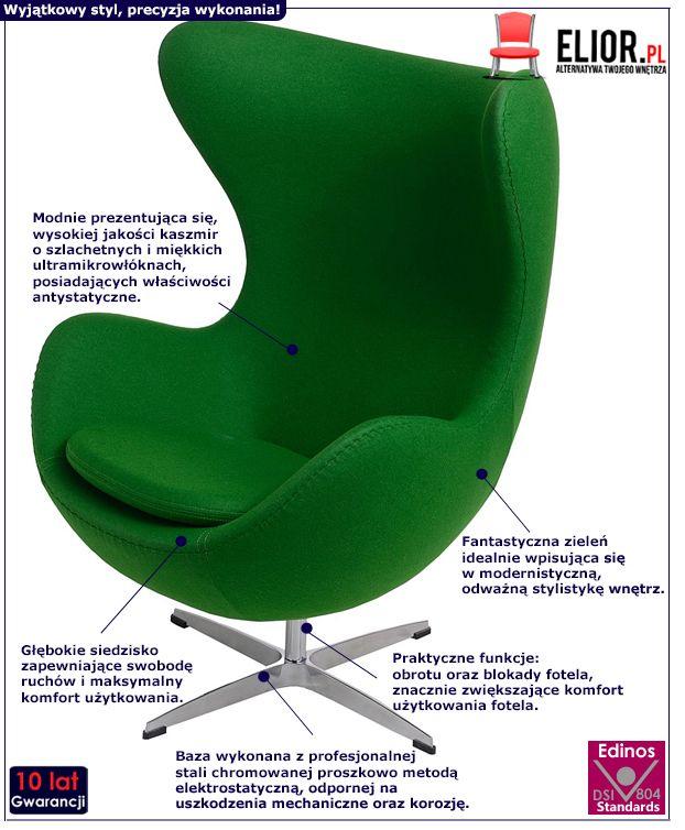 Stylowy fotel wypoczynkowy Eggi 2 - zielony